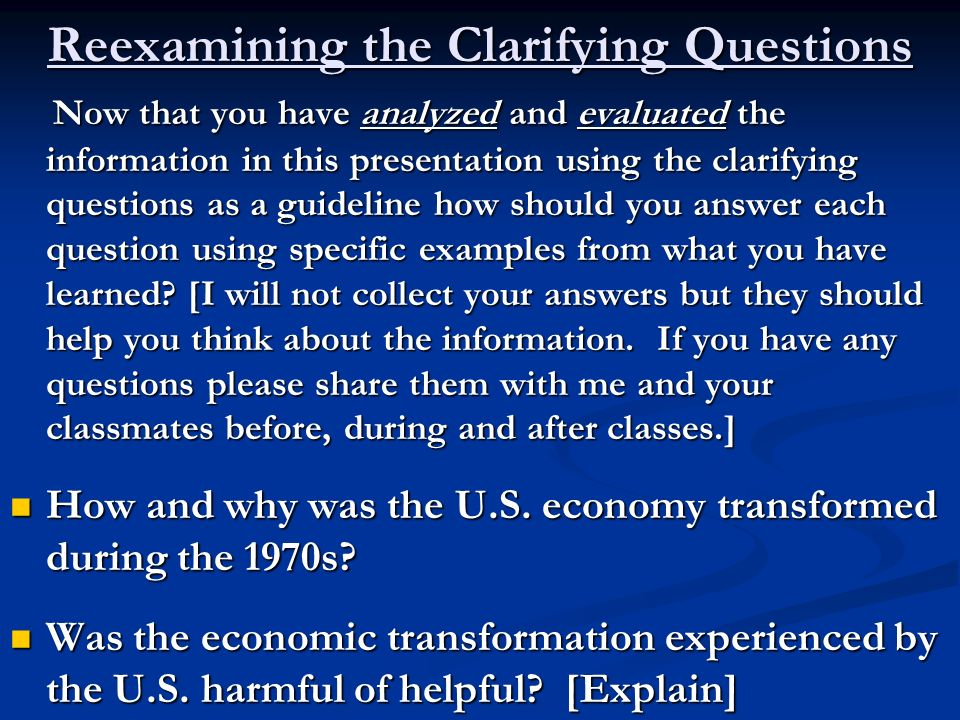 Reexamining the Clarifying Questions