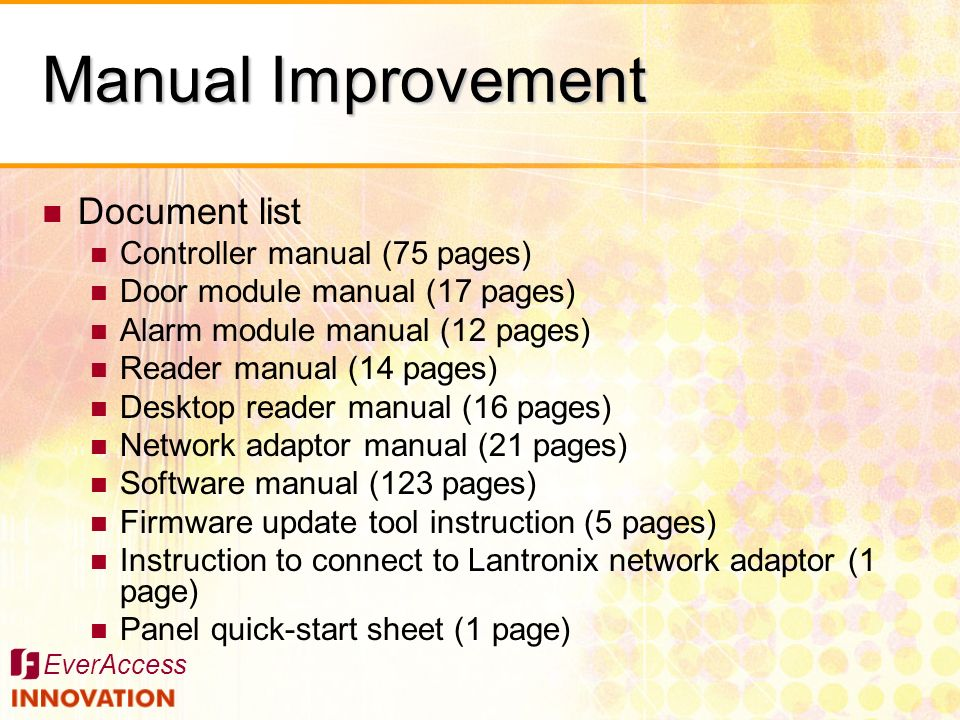Manual Improvement Document list Controller manual (75 pages)