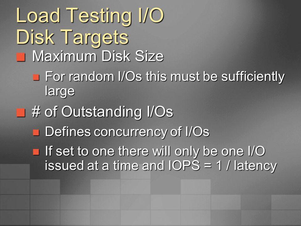 Load Testing I/O Disk Targets