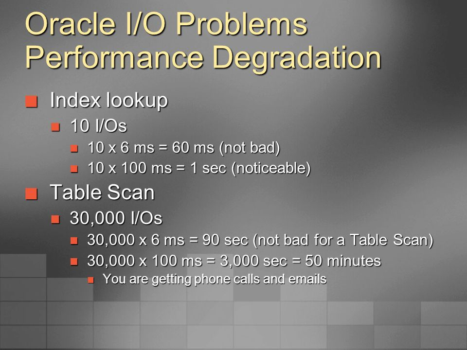 Oracle I/O Problems Performance Degradation