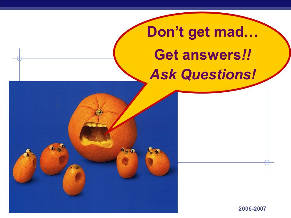 Don't get mad… Get answers!! Ask Questions!