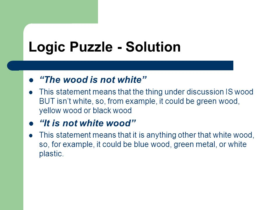 Logic Puzzle - Solution