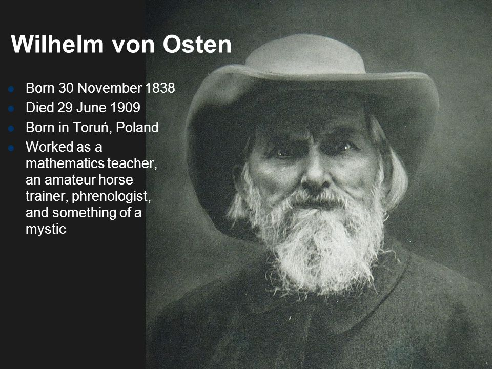 Wilhelm von Osten Born 30 November 1838 Died 29 June 1909