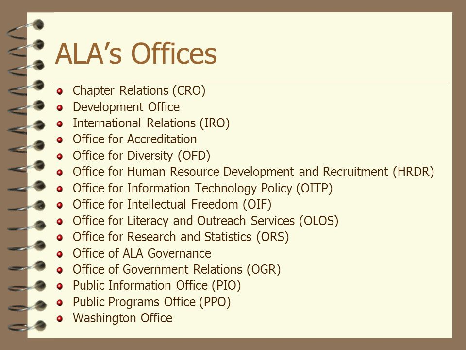 ALA's Offices Chapter Relations (CRO) Development Office