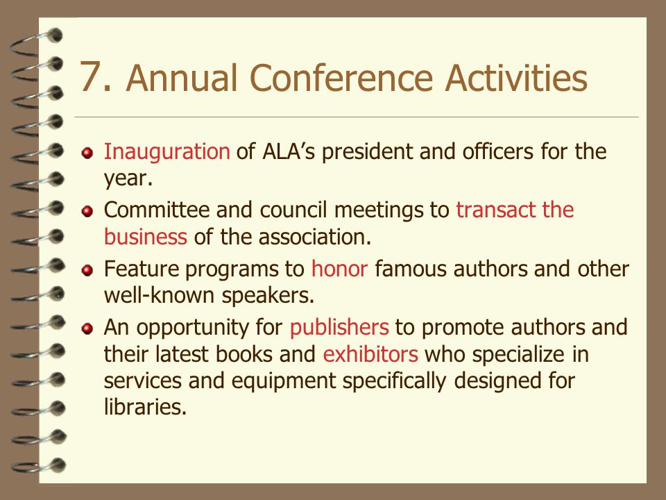 7. Annual Conference Activities
