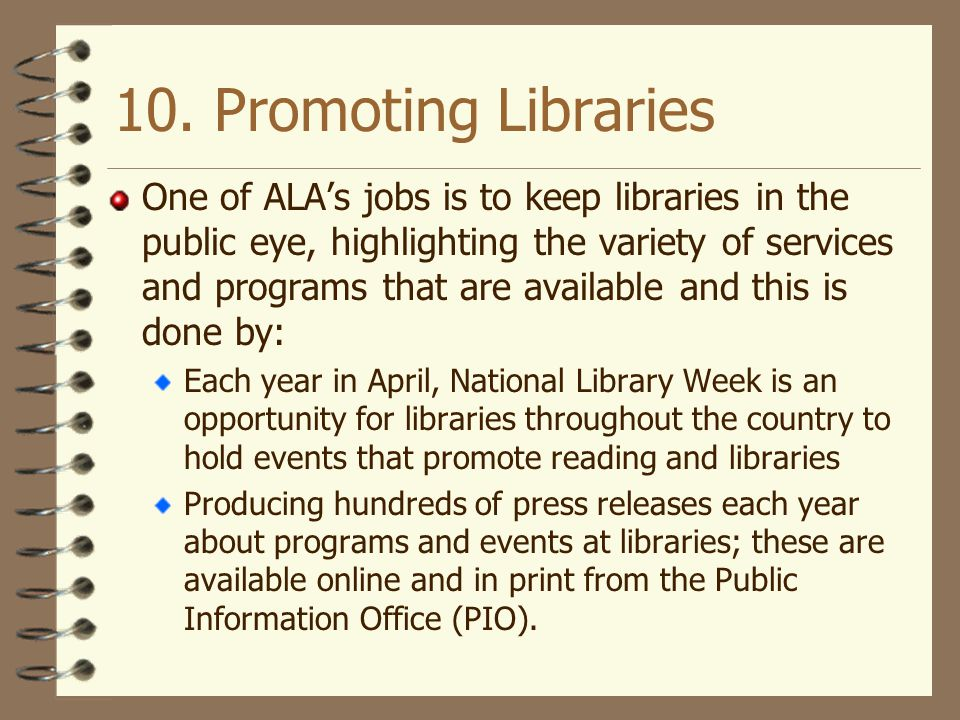 10. Promoting Libraries