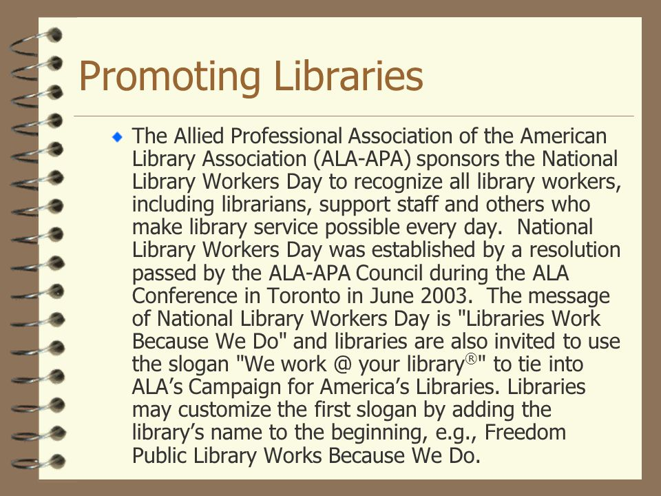 Promoting Libraries
