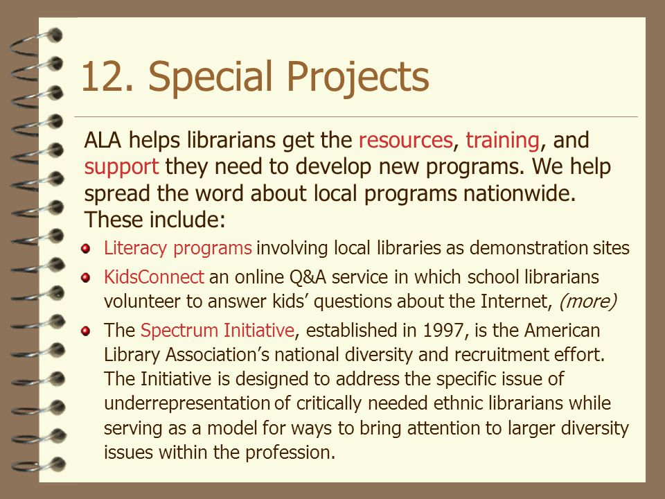12. Special Projects