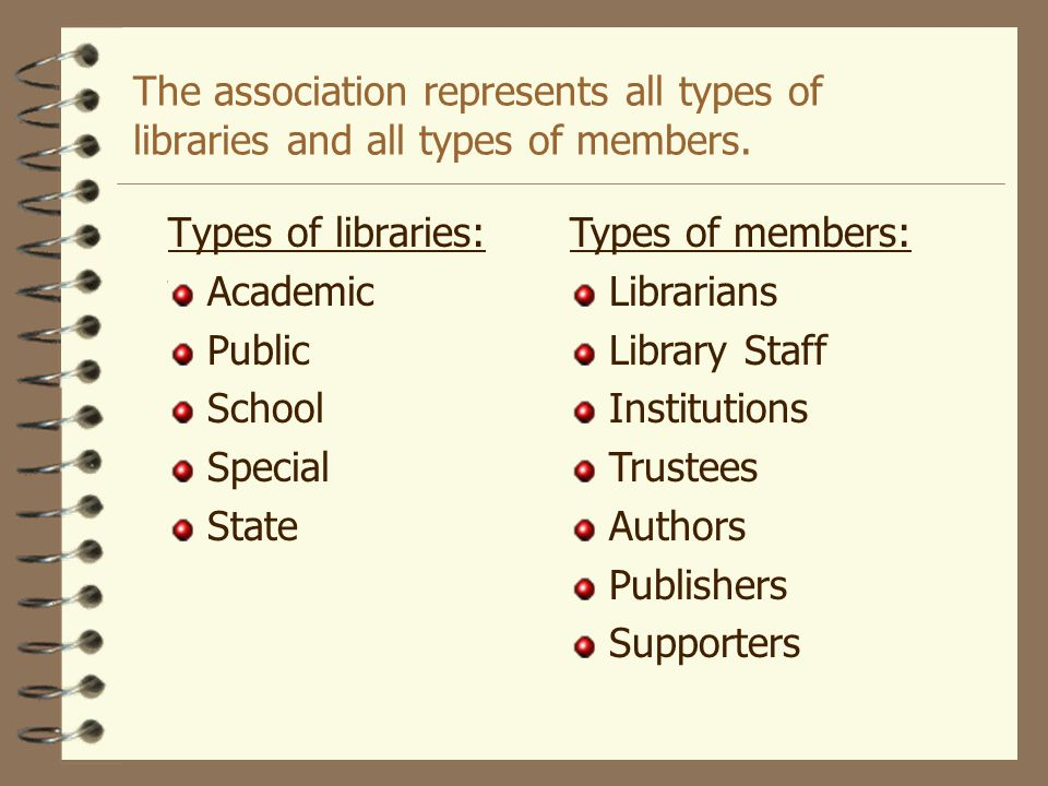 The association represents all types of libraries and all types of members.