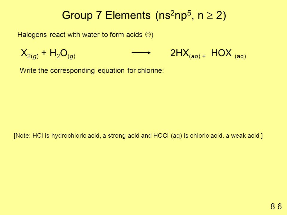 Group 7 Elements (ns2np5, n  2)