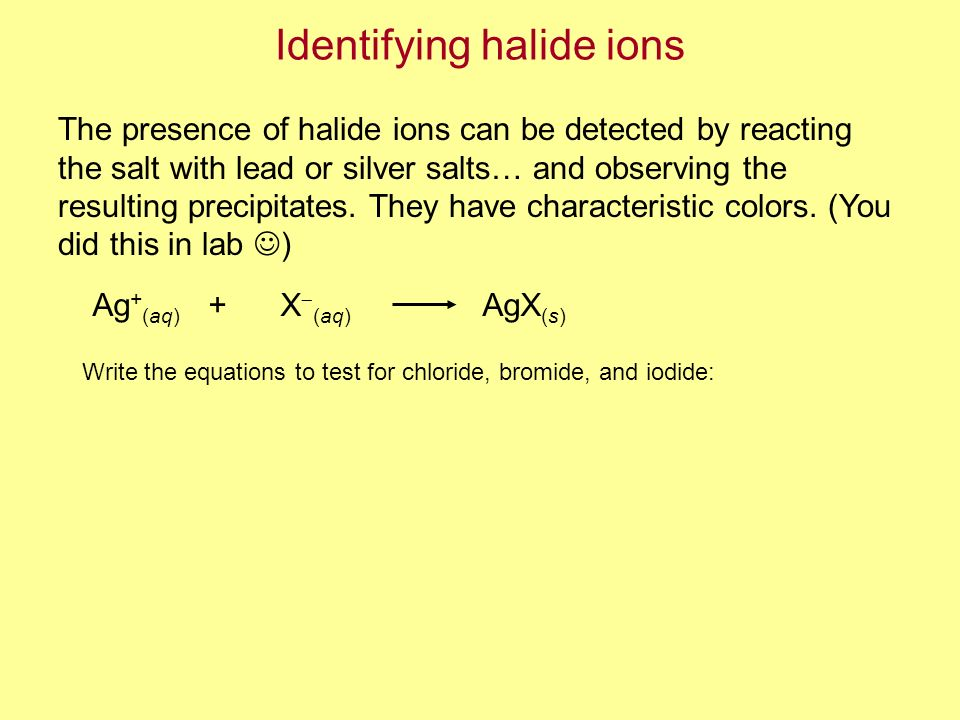 Identifying halide ions