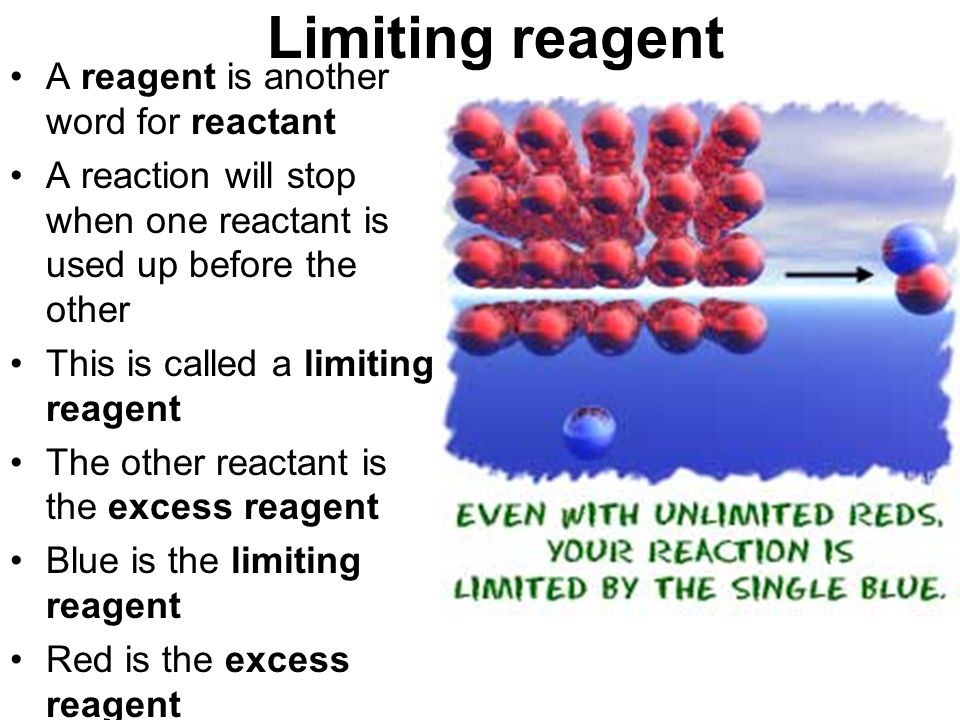 Limiting reagent A reagent is another word for reactant