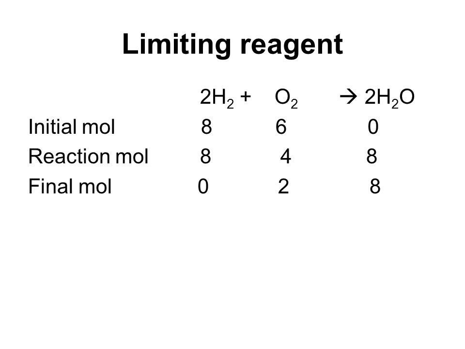Limiting reagent 2H2 + O2  2H2O Initial mol 8 6 0 Reaction mol 8 4 8 Final mol 0 2 8