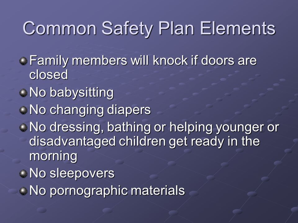 Common Safety Plan Elements