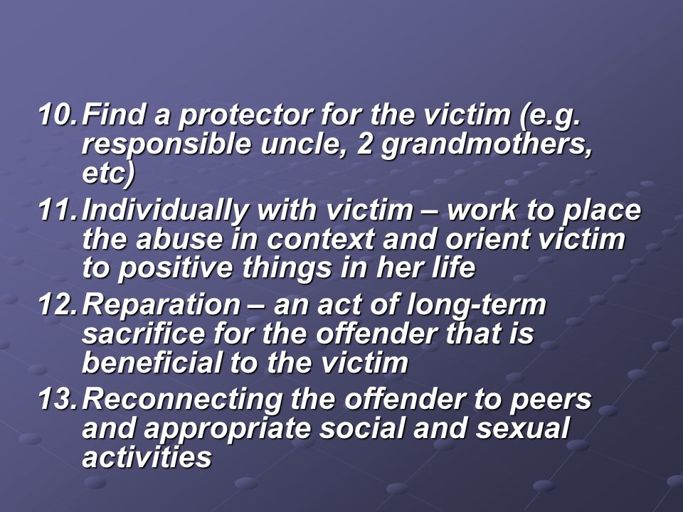 Find a protector for the victim (e. g