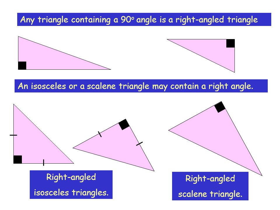 Any triangle containing a 90o angle is a right-angled triangle