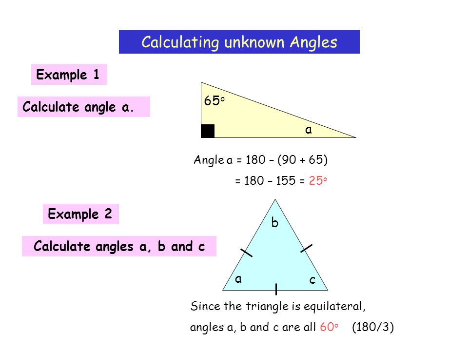 Calculate angles a, b and c