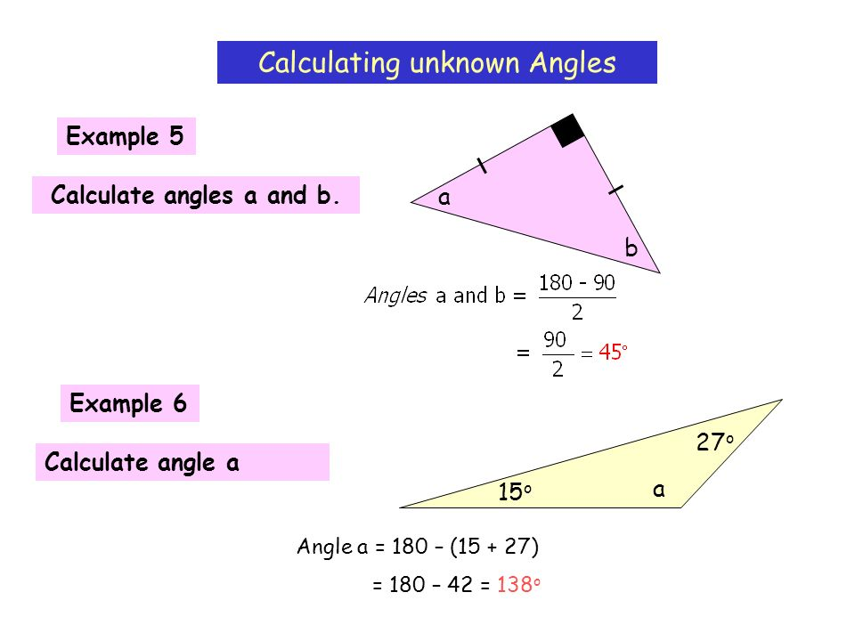 Calculate angles a and b.