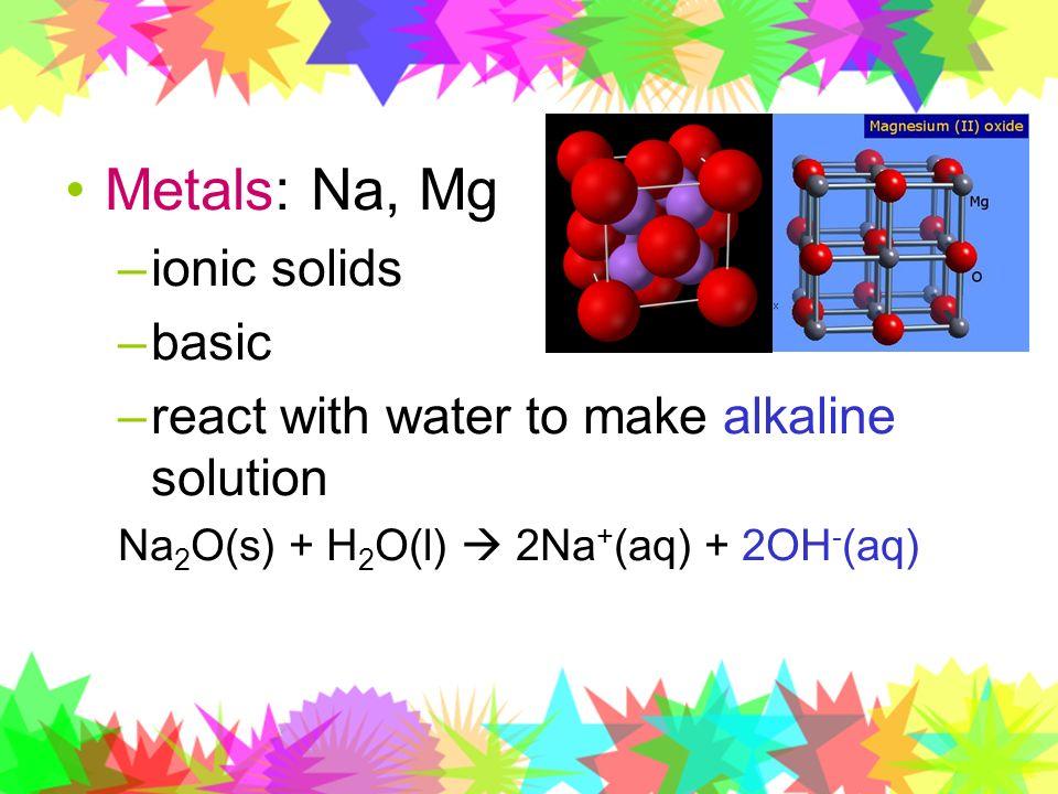 Metals: Na, Mg ionic solids basic