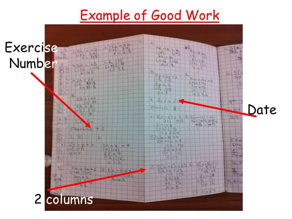 Example of Good Work Exercise Number Date 2 columns
