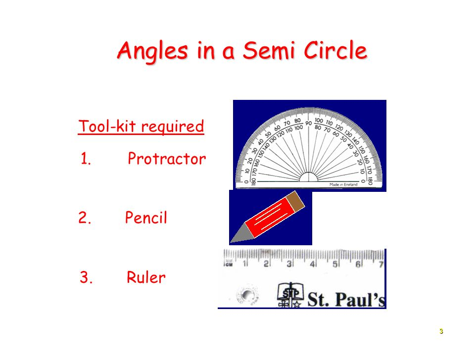 Angles in a Semi Circle Tool-kit required 1. Protractor 2. Pencil