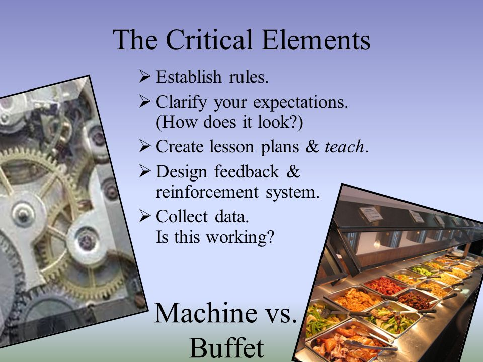 The Critical Elements Machine vs. Buffet Establish rules.