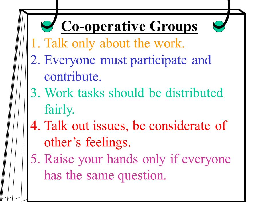 Co-operative Groups Talk only about the work.