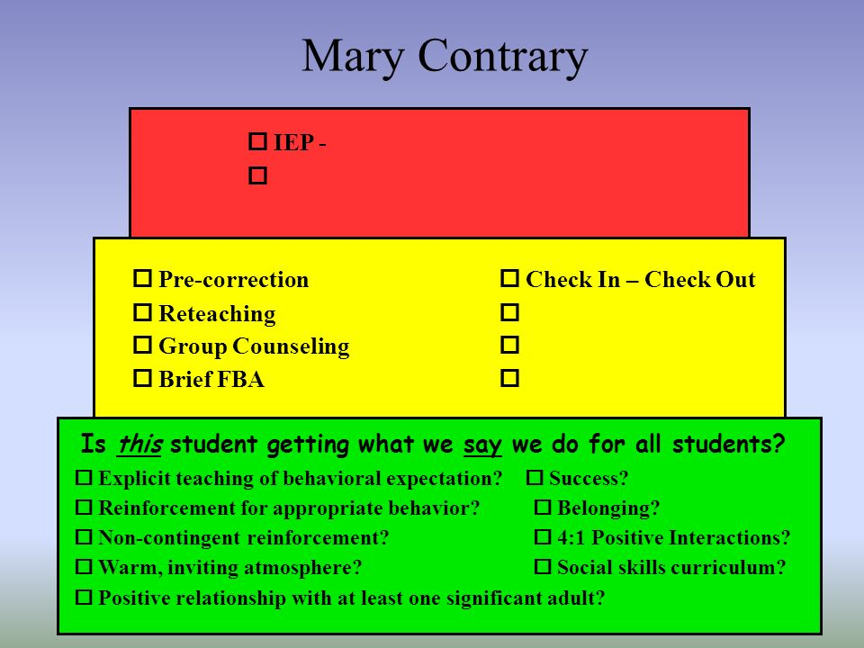 Mary Contrary o IEP - o o Pre-correction o Reteaching