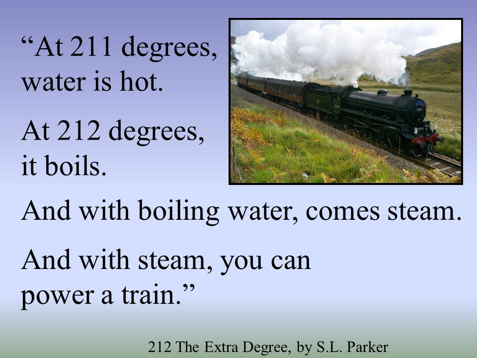 At 211 degrees, water is hot. At 212 degrees, it boils.
