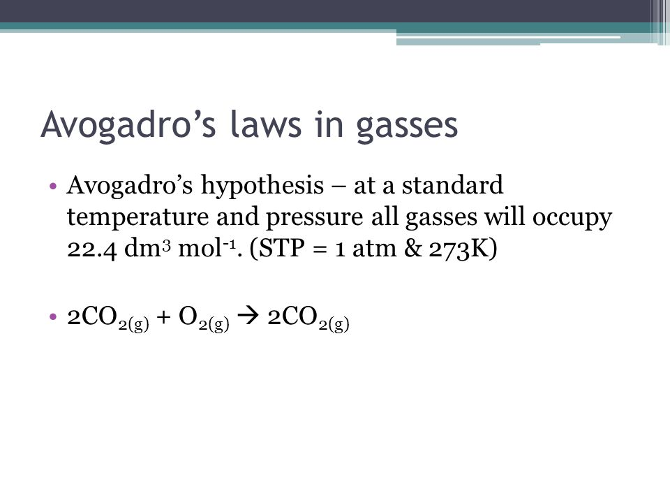 Avogadro's laws in gasses