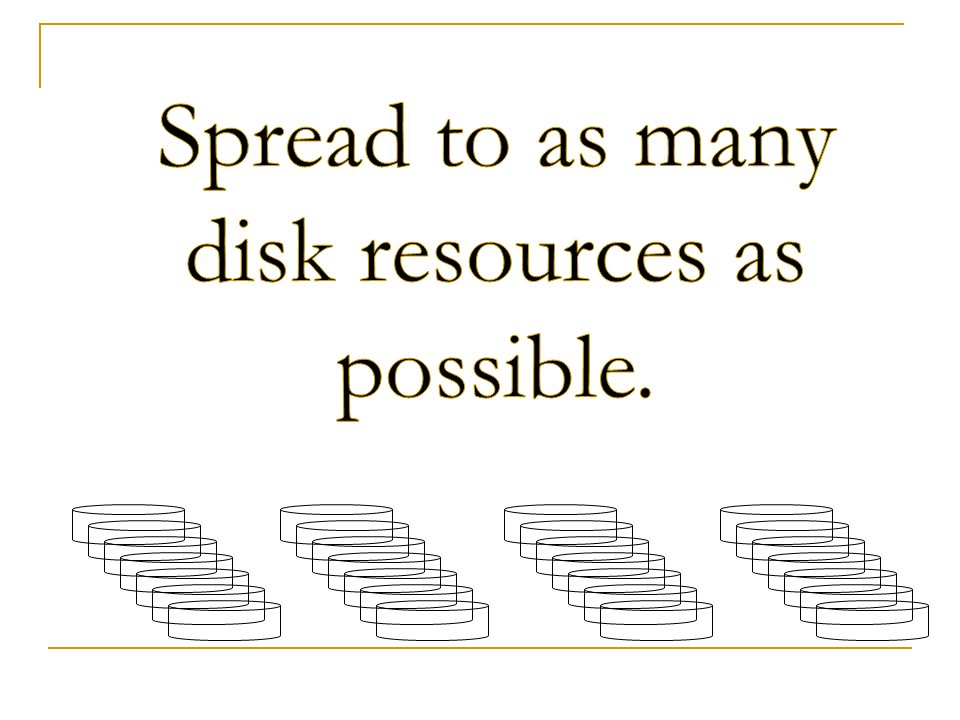 Spread to as many disk resources as possible.