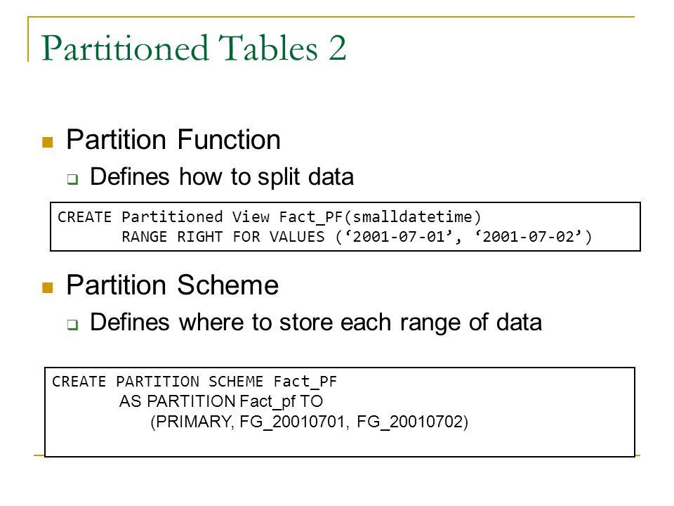 Partitioned Tables 2 Partition Function Partition Scheme