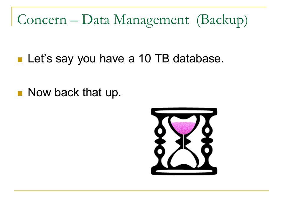 Concern – Data Management (Backup)