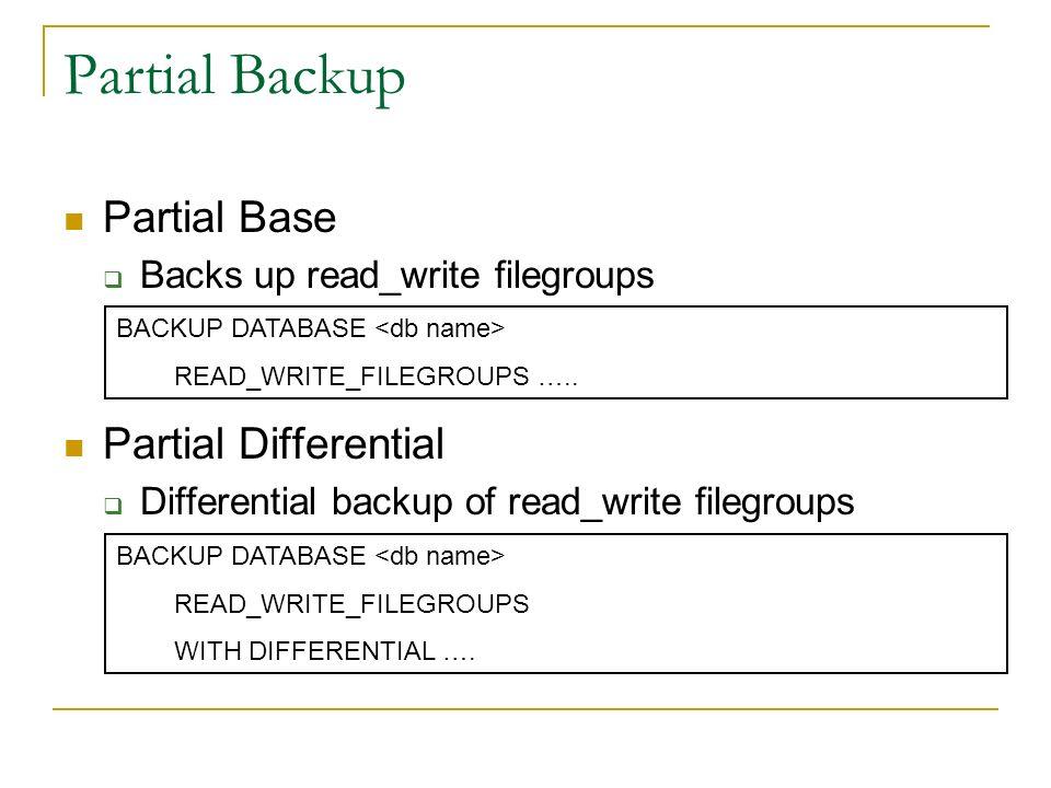 Partial Backup Partial Base Partial Differential