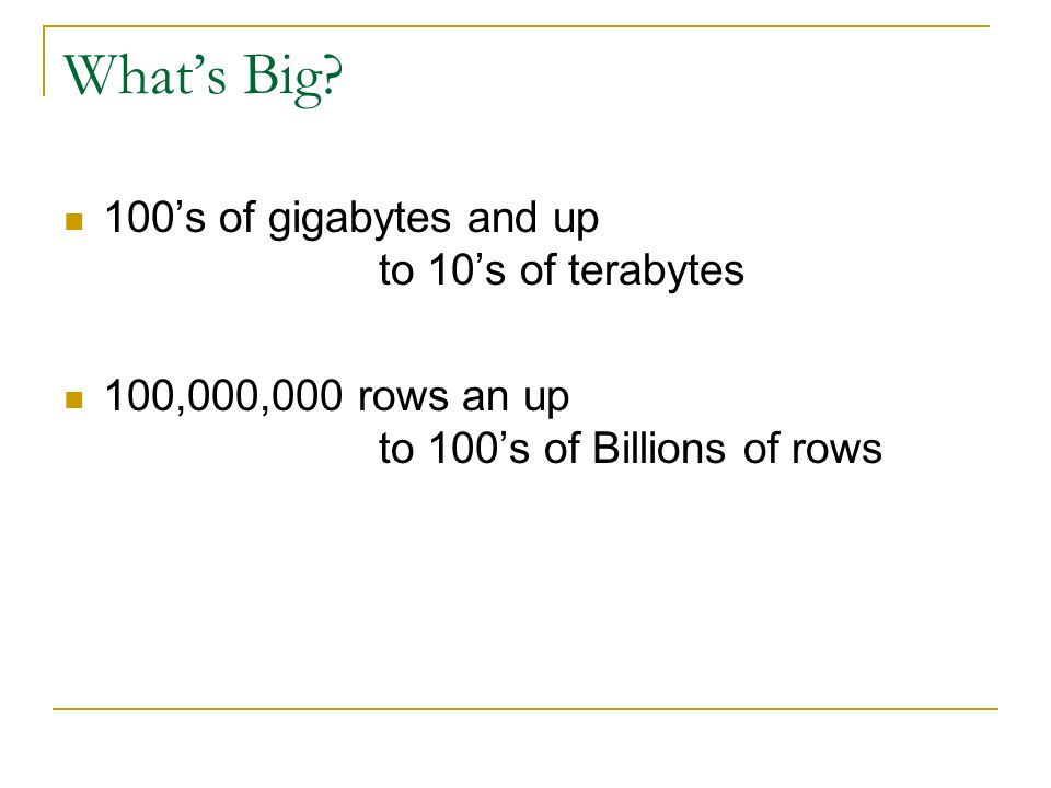 What's Big 100's of gigabytes and up to 10's of terabytes