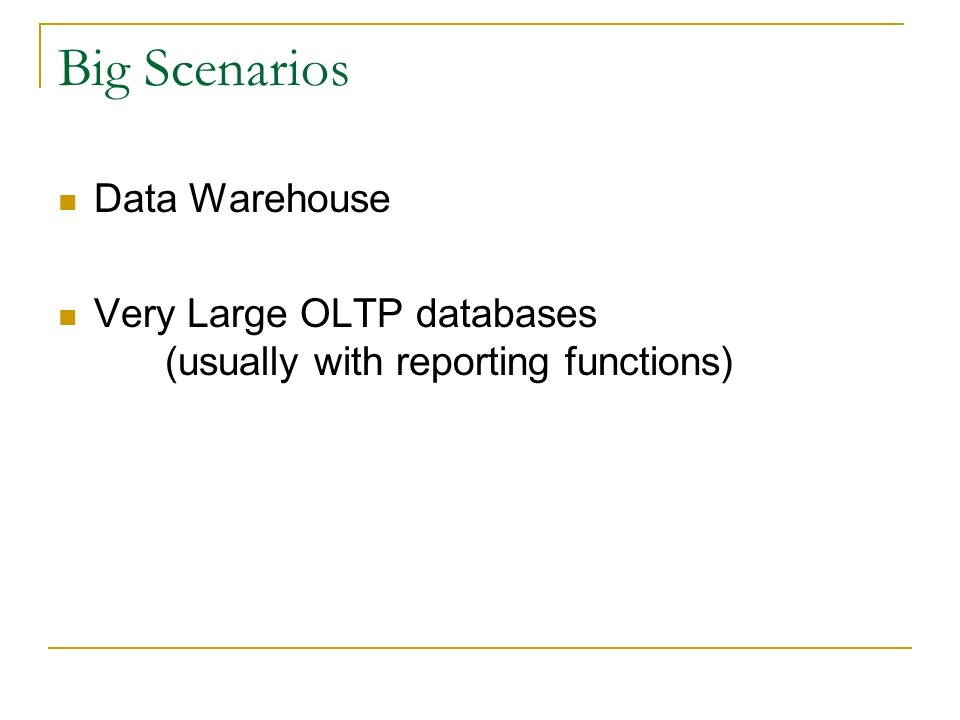 Big Scenarios Data Warehouse
