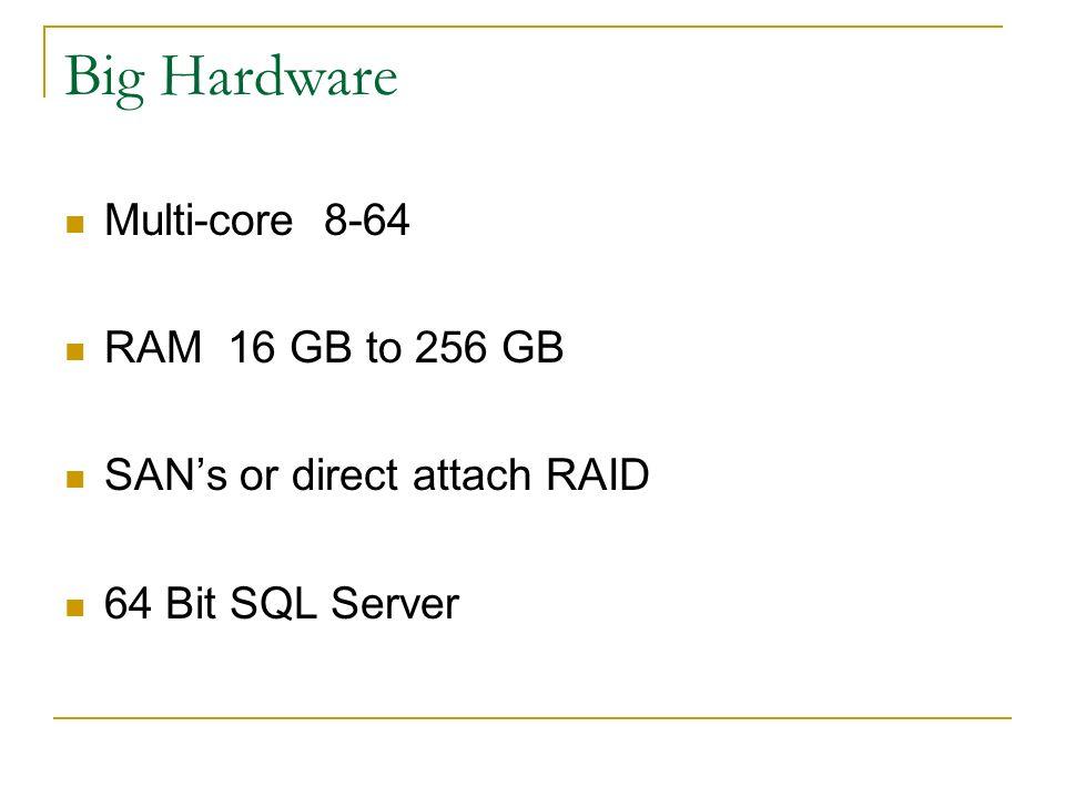 Big Hardware Multi-core 8-64 RAM 16 GB to 256 GB