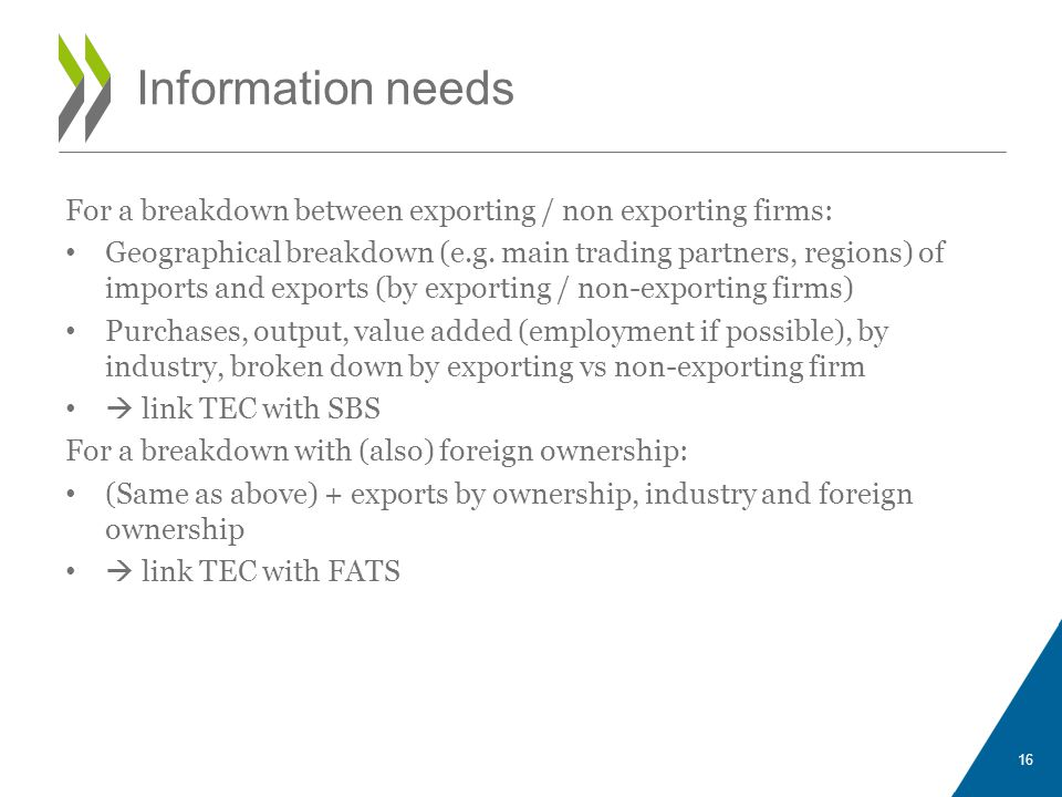 Information needs For a breakdown between exporting / non exporting firms: