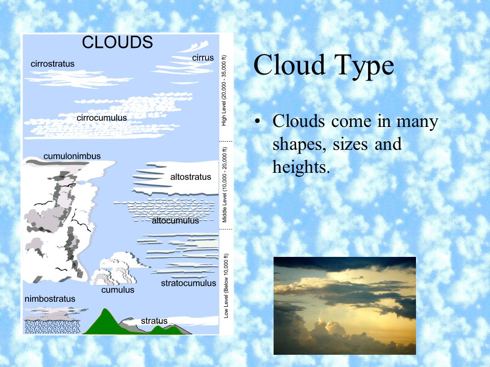 Cloud Type Clouds come in many shapes, sizes and heights.