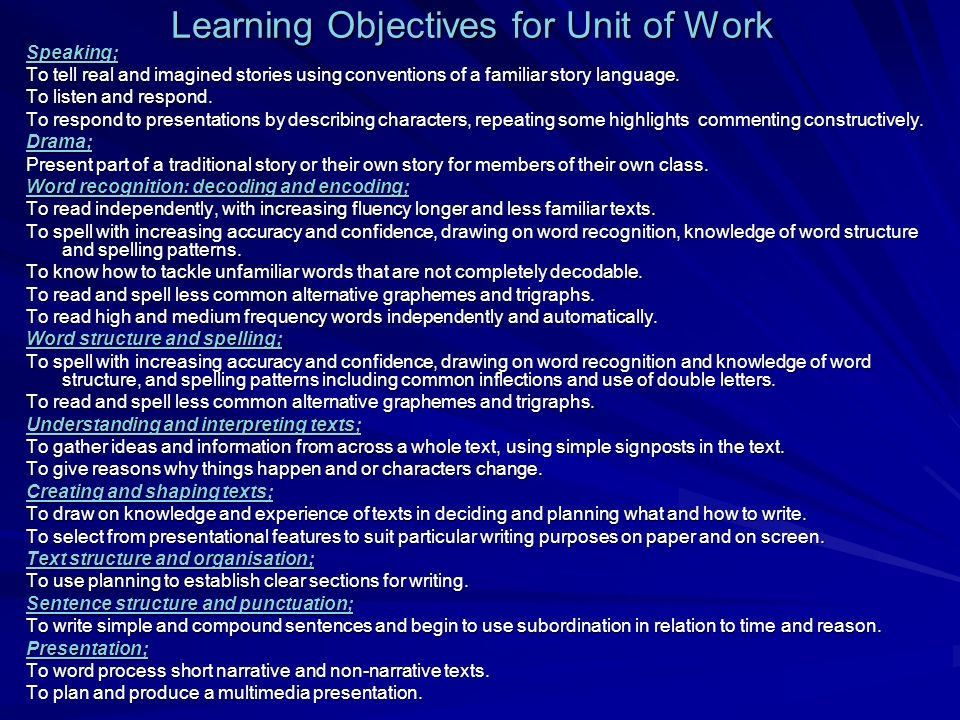 Learning Objectives for Unit of Work