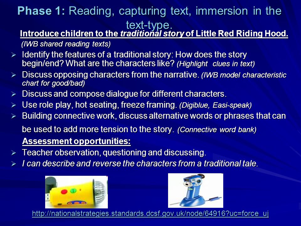 Phase 1: Reading, capturing text, immersion in the text-type.