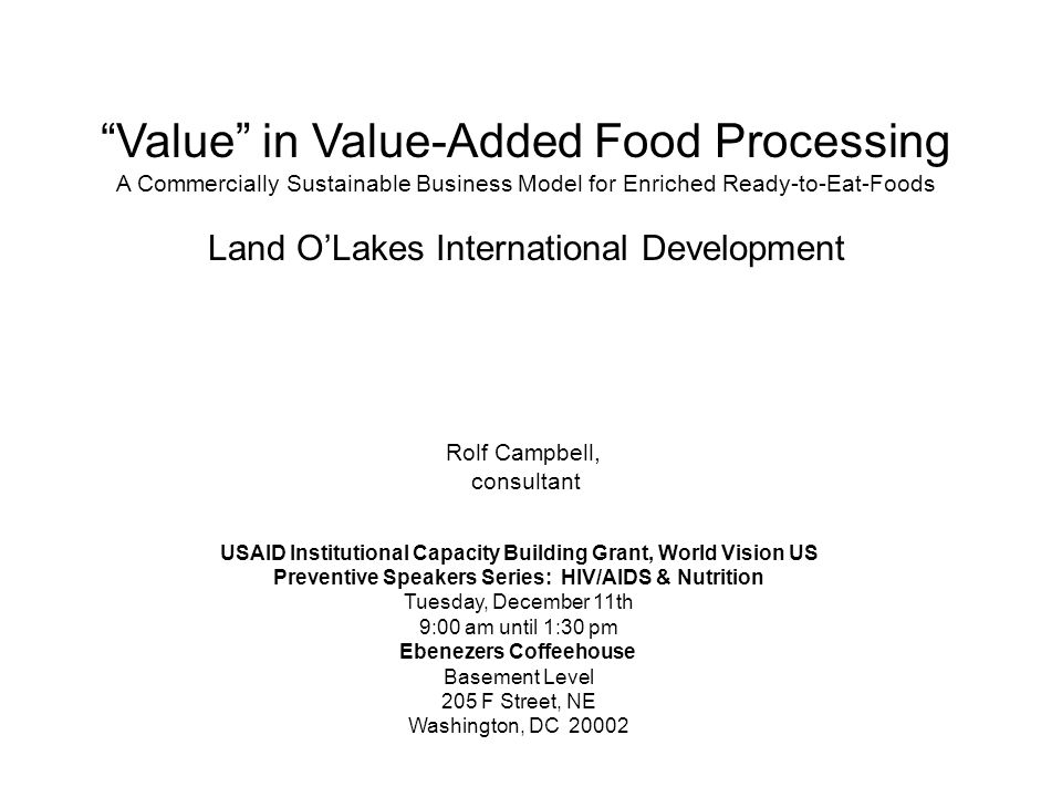 Value in Value-Added Food Processing