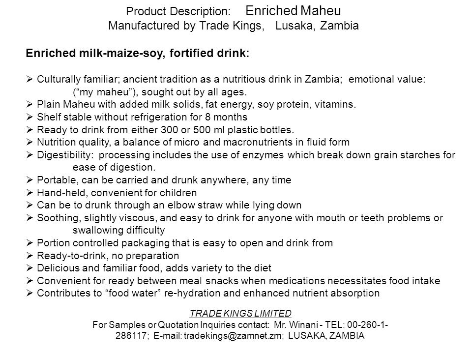 Product Description: Enriched Maheu