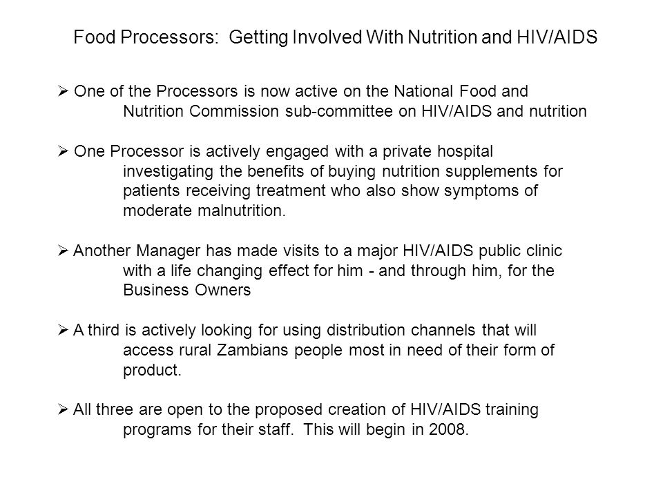 Food Processors: Getting Involved With Nutrition and HIV/AIDS