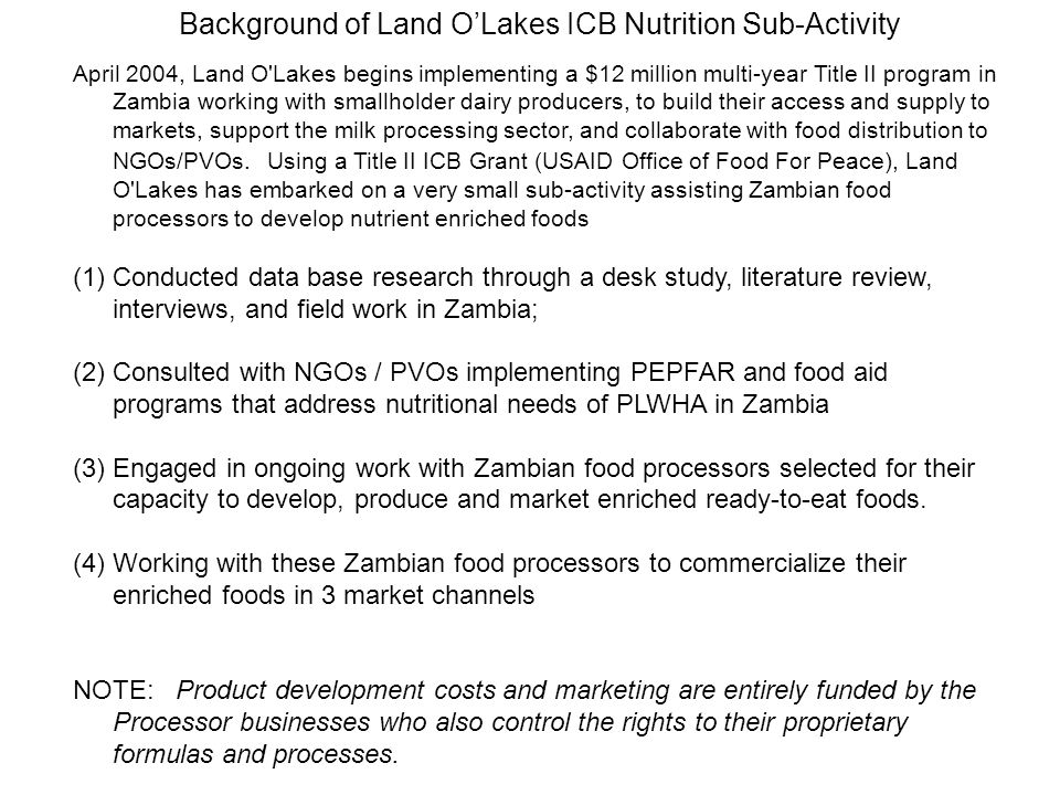 Background of Land O'Lakes ICB Nutrition Sub-Activity