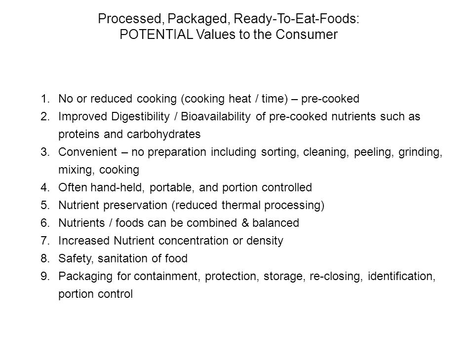 Processed, Packaged, Ready-To-Eat-Foods: