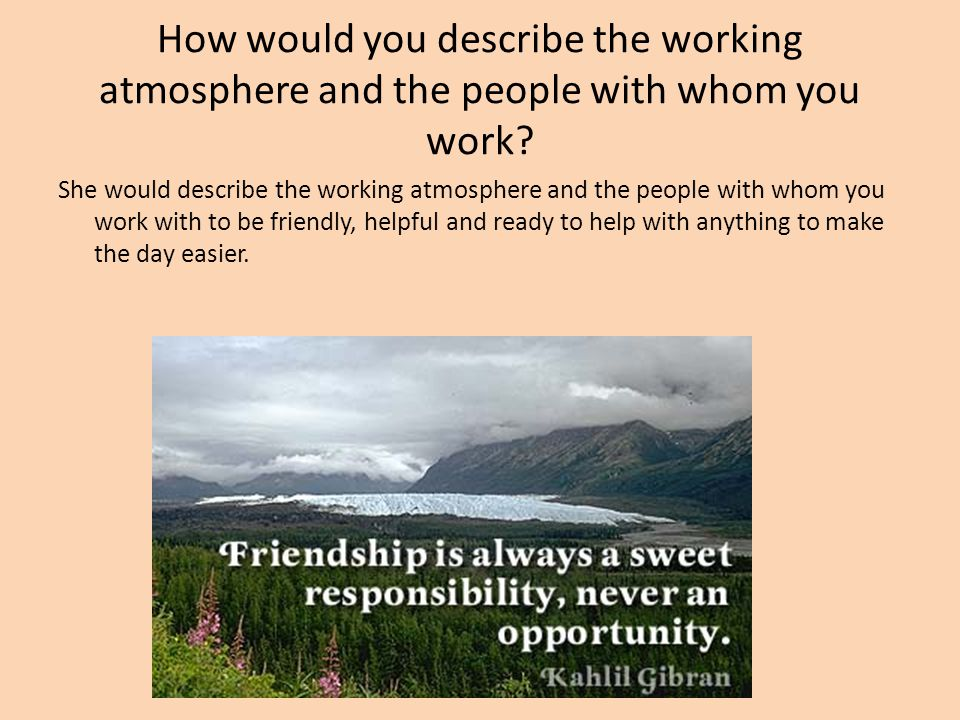 How would you describe the working atmosphere and the people with whom you work