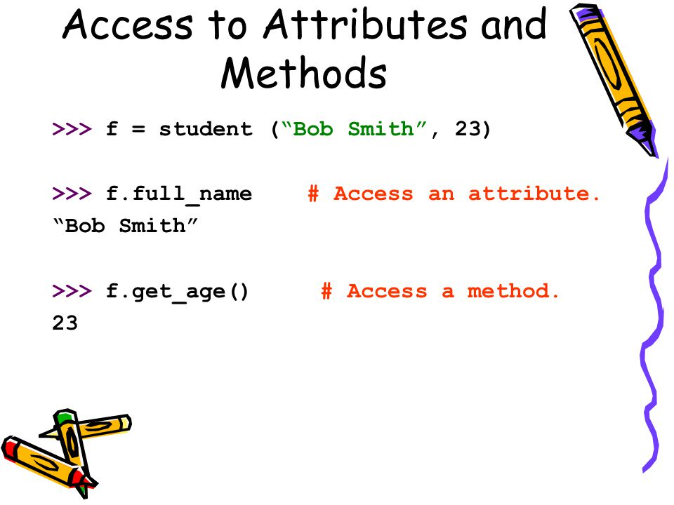 Access to Attributes and Methods