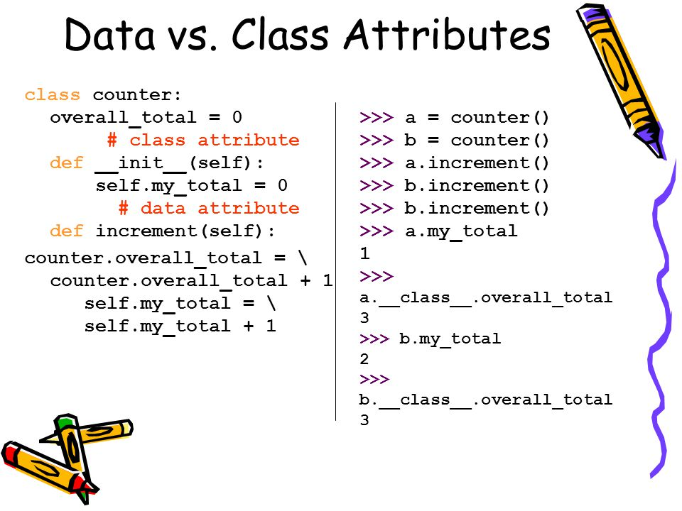 Data vs. Class Attributes