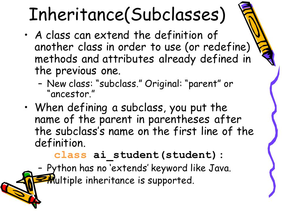 Inheritance(Subclasses)